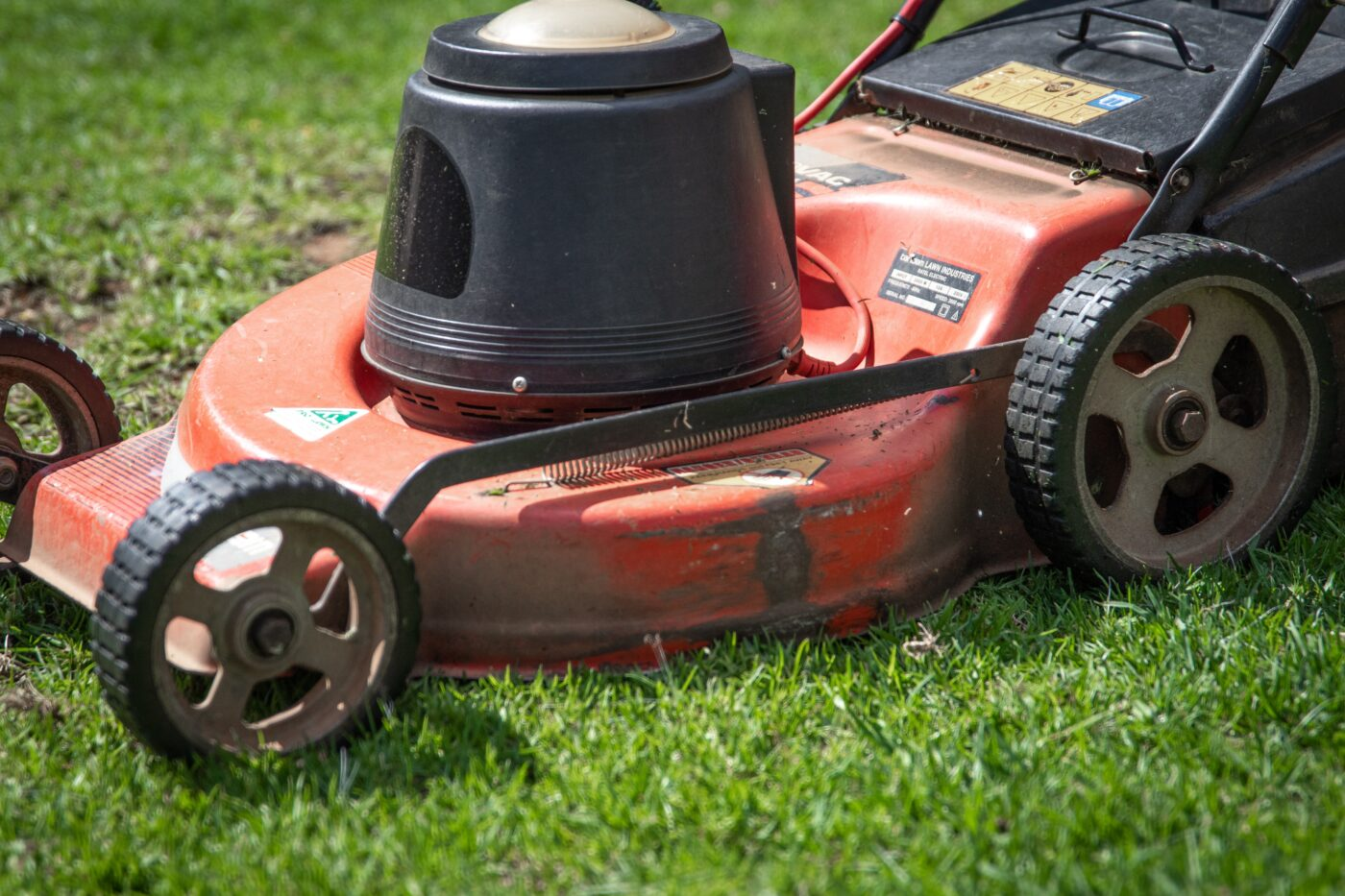 lawnmower mowing lawn